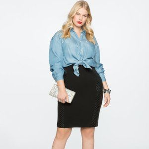MiracleFlawless Pencil Skirt w/ FauxLeather Detail